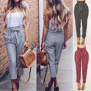 Body by us paper bag striped trousers Sz L